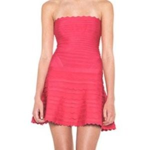 Strapless Pink Scalloped Herve Leger